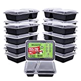 Meal Prep Containers Bento Box [20 Pack] 2 Compartment with Lids,Food Storage Reusable Lunch Boxes,| BPA Free | Stackable | Microwave/Dishwasher/Freezer Safe (35 oz)