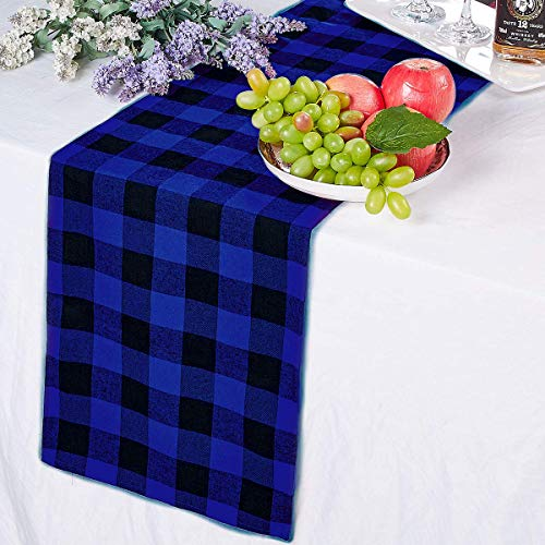 LBG Products 14 x 72'' Cotton Blue and Black Buffalo Plaid/Check Table Runner Reversible Decorations for Christmas Holiday,New Year Party .Family Dinners, Gatherings, Indoor or Outdoor Parties/Events