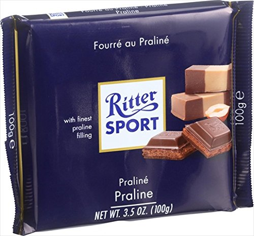 Milk Praline (Ritter Sport Chocolate Bar - Milk Chocolate - Praline Filling - 3.5 oz Bars - Case of 13)