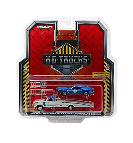 New DIECAST Toys CAR Greenlight 1:64 HD Trucks Series 15-1969 Ford F-350 RAMP Truck - Ford Performance with 1969 Ford Mustang BOSS 302#1 Mustang Clubs Racing Team (Blue/White) 33150-A