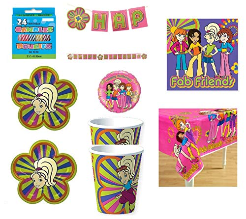 Polly Pocket Birthday Party Supply Bundle Includes Plates Cups Napkins Table Cover Balloon Banner Candle for Party of 16 (Pocket Party Supplies Polly)