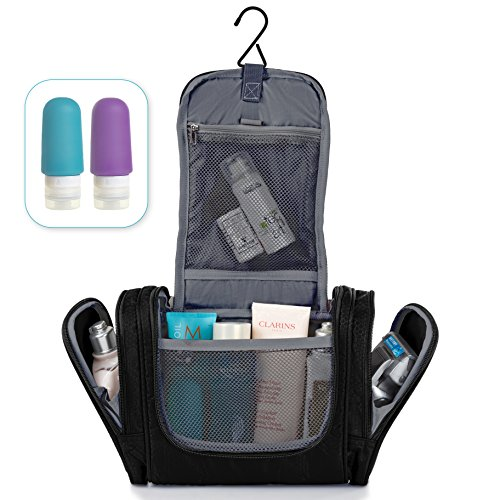 Hanging Travel Toiletry Bag + Silicone Bottles Set - Premium Quality Travel Organizer for Men & Women - Toiletry Kit for Cosmetics, Makeup, Shaving Accessories, Bathroom & Shower Essentials - Black