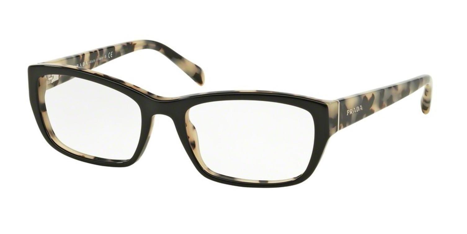 Prada PR18OV Eyeglass Frames ROK1O1-52 - Top Black/white Havana PR18OV-ROK1O1-52