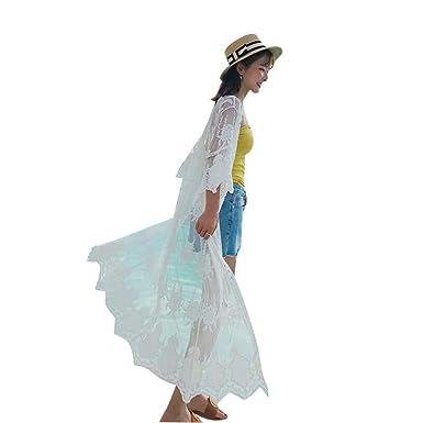 WFire Vestido de Playa Mujer Suelto Pareos Playa V-Cuello ...
