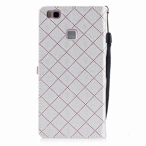 Yiizy Huawei P9 Lite Custodia Cover, Amare Design Sottile Flip Portafoglio PU Pelle Cuoio Copertura Shell Case Slot Schede Cavalletto Stile Libro Bumper Protettivo Borsa (Grigio)