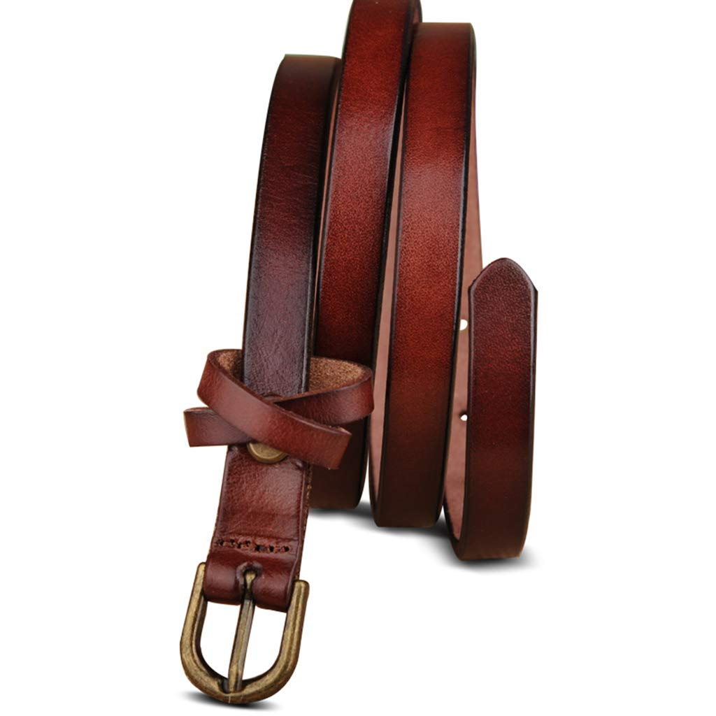 Fine Belt Female Leather Korean Version Decorative Belt Wild Fashion First Layer Pure Leather Dress Pants with Pin Buckle Color : Brown, Size : 115cm