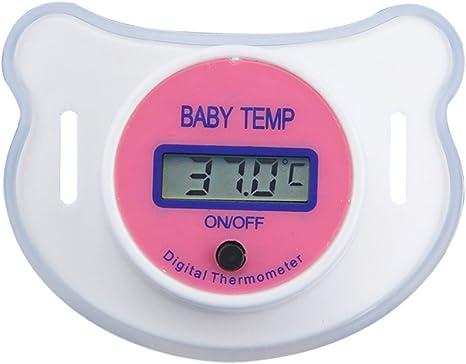 term/ómetro digital con pantalla LCD herramienta de medici/ón de temperatura para beb/és y ni/ños peque/ños rosa rosa Talla:20 x 7.5mm Term/ómetro de beb/é chupete seguro para ni/ños
