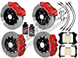 """WILWOOD BMW 3-SERIES FRONT & REAR BIG BRAKE COMBO WITH FREE BRAKE LINES & BRAKE FLUID - 14"""" AERO6 FRONT & AERO4 REAR, RED CALIPERS, SLOTTED ROTORS, 2007-2013 BMW 3-SERIES"""