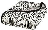 All Seasons Collection Micro Fleece Plush Animal Print F/Q Blanket, Zebra