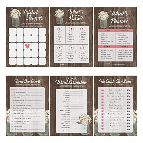 Mason Jar Bridal Shower Games 6 Design | 30 Sheets Each | Wedding Advice amp Games Cards for Guests Include Bridal Shower Bingo He said She Said Bridal Shower Games for Guests Also Suit Anniversary