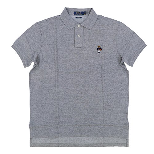 Polo Ralph Lauren Men Custom Fit Mesh Polo Shirt Gray Basketball Bear (X-Large)