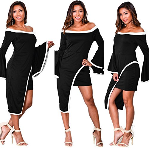Hem Club Slim Shift Cocktail Womens Party Pencil Fit Bell Dress Asymmetric Bodycon Sleeve Bodycon4U Midi pAnwv6qw