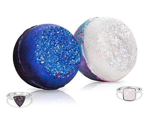 Fragrant Jewels Rainbow Quartz & Crystal Quartz Bath Bomb Set with Collectible Rings (Size 5-10)