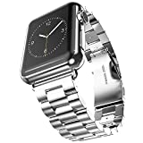 Apple Watch Band, 2016 Latest Solid Stainless Steel Metal Replacement Watchband Bracelet with Double Button Folding Clasp for Apple Watch iWatch 42mm (Sliver 3 Pointers)