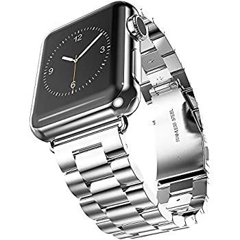For Apple Watch Band iWatch Band 42mm Evershop Silver Stainless Steel Replacement Watch Band with Durable Metal Clasp for Apple Watch Series 3 2 1 (Stainless Steel Strap-42mm Silver)