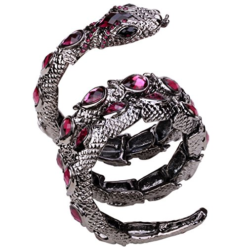 YACQ Jewelry Women's Crystal Stretch Snake Bracelet for