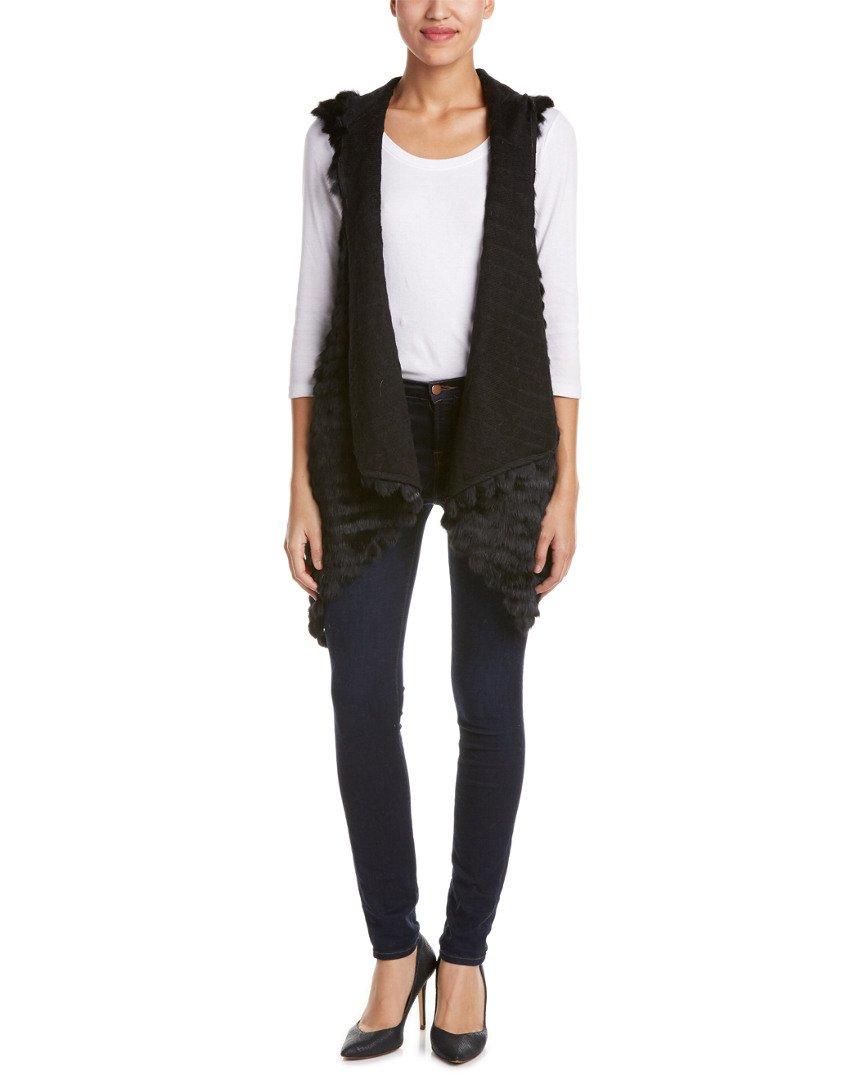 Jocelyn Women's Asymetrical Fur Vest, Black, P/S