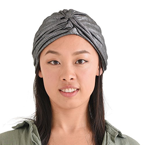 Womens Fortune Teller Turban - Metallic Fashion Afro Accessory Headwrap Hair Hat Boho Chemo Wrap Silver
