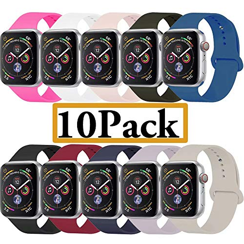 YANCH Compatible with for Apple Watch Band 42mm 44mm, Soft Silicone Sport Band Replacement Wrist Strap Compatible with for iWatch Nike+,Sport,Edition,M/L,Size,10 Pack