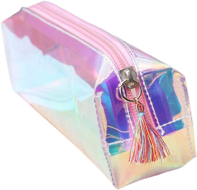 Dora - Estuche transparente para bolígrafos o láser, bolsa de cosméticos con borlas y bolígrafos, organizador estático con cremallera: Amazon.es: Oficina y papelería
