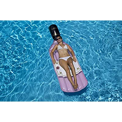 Swimline 90654 Inflatable Rose Wine Bottle Pool Float, One Size, Pink: Garden & Outdoor