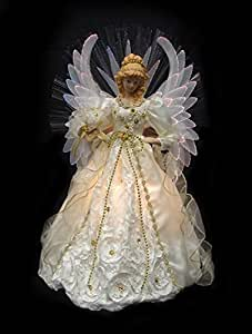 vickerman lighted cream and gold fiber optic angel christmas tree topper 19 home. Black Bedroom Furniture Sets. Home Design Ideas