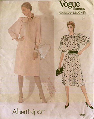 Vogue 1105 Vintage 1980s American Designer Albert Nipon Dress Sewing Pattern ()