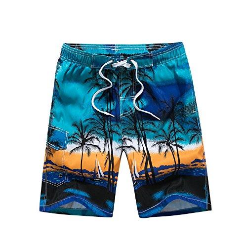 URUOI Men's Swimming Trunks with Palm Tree Pattern Beach Pants Blue XL