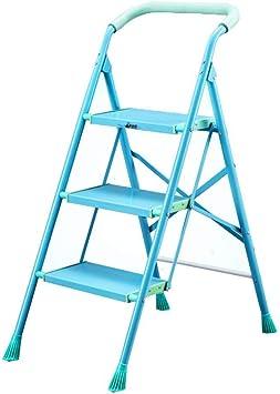 TLTLTD Azul Escalera 3 Peldaños, Escalera Resistente Plegable Portátil Casera, Antirresbaladizo, Capacidad De Carga De MAX 150kg: Amazon.es: Bricolaje y herramientas