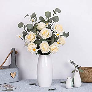 FENGRUIL Artificial Flowers Rose Bouquet Fake Silk Daisy Rose Flowers Eucalyptus Leaves Bunch Bridal Wedding Flowers for Home Office Party Décor 93