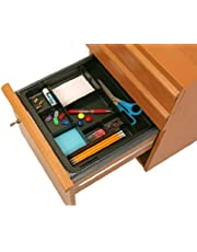 """Officemate OIC Recycled Expandable Drawer Tray, 10 3/8"""" W - 16"""" W, Black (26372)"""