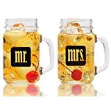 Mr. & Mrs. Mason Jars – Glass Drinking Glasses Set – For Couples – Engagement, Wedding, Anniversary, House Warming, Hostess Gift, 16 oz