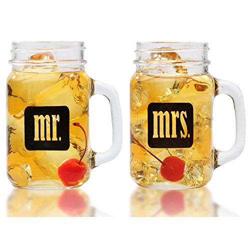 Mr. & Mrs. Mason Jars - Glass Drinking Glasses Set With Gift Box - For Couples - Engagement, Wedding, Anniversary, House Warming, Hostess Gift, 16 -
