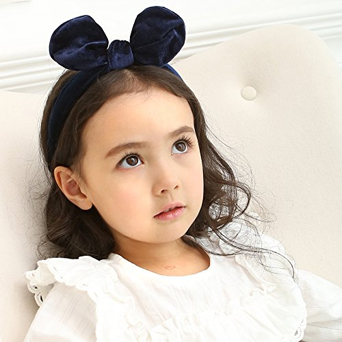 Price comparison product image M-FIT Premium Navy Blue Velvet Hair Hoop with Big Bowtie For Baby Girls (Navy Blue)