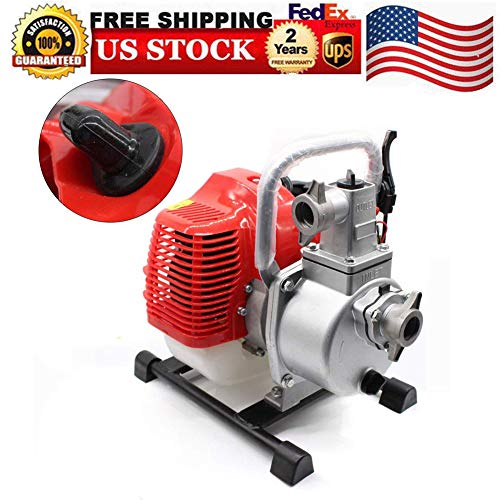 Feiuruhf Water Pump, Gas Gasoline Water Pump 2 Stroke 1.7HP Engine Petrol Water Transfer Pump Pool Irrigation Pool High Pressure Pump, 43CC Sump Pumps Landscaping Gardening Irrigation