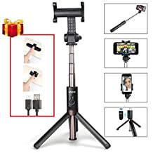 Selfie Stick , MAONO Integrated Tripod Selfie Stick with Rechargeable Bluetooth Remote Detachable Shutter and Vertical 360°Rotation Phone Holder for Podcasting, Live Broadcasting, Facetime on Desk