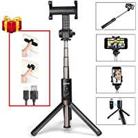 Selfie Stick, MAONO Integrated Foldable Tripod with Rechargeable Bluetooth Remote Shutter and Vertical 360° Rotation Phone Holder for iPhone, Android Smartphones, Podcast, Live Broadcasting, Facetime