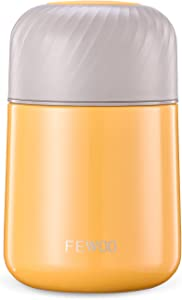 Food Jar - 20oz Vacuum Insulated Stainless Steel Lunch Thermos,Leak Proof Soup Containers with Folding Spoon for Hot or Cold Food (Yellow)
