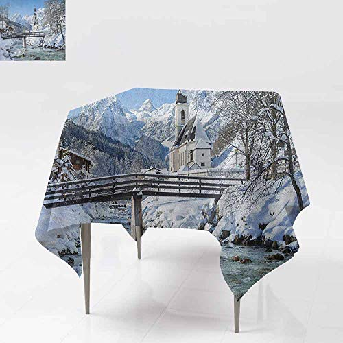 AndyTours Washable Square Tablecloth,Winter,Panoramic View of Scenic Landscape in Bavaria Parish European Scenic Places,Dinner Picnic Table Cloth Home Decoration,36x36 Inch Blue Brown White