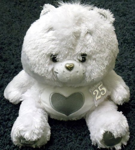 "Unique Hard to Find Care Bears 25th Anniversary 11"" White Care Bear with Heart (25th Anniversary Bear)"