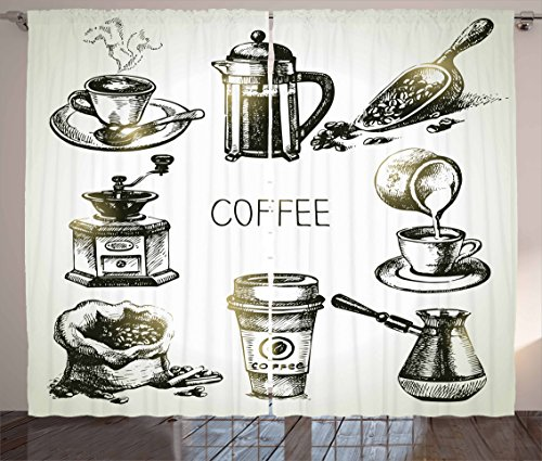 Ambesonne Coffee Curtains, Brewing Equipment Doodle Sketch Grinder French Press Plastic Cup Scoop Vintage, Living Room Bedroom Window Drapes 2 Panel Set, 108 W X 63 L Inches, Yellow Black