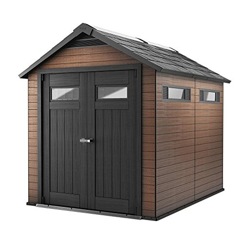 Outdoor Wood Storage Building (Keter Fusion Large 7.5 x 9 ft. Wood & Plastic Outdoor Yard Garden Composite Storage Shed)