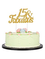 Gold Glitter Fabulous Cake Topper,Wedding,Birthday,Anniversary, Party Decorations (15th)