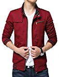 Kjdshwa Men's Long Sleeve Full Zip Lightweight Jacket(Red,L Size)