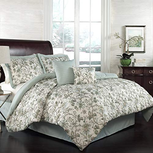 Traditions Comforter Set - Traditions by Waverly 15224BEDDKNGMNR Felicite 104-Inch by 88-Inch 6-Piece King Comforter Collection, Mineral (Renewed)