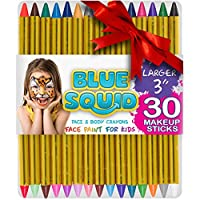 """Face Paint Crayons 30 for Kids, 30 Jumbo 3.25"""" Face & Body Painting Makeup Crayons, Safe for Sensitive Skin, 6 Metallic & 24 Classic Colors, Great for Birthday Party"""