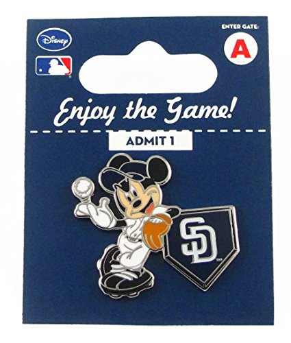 MLB San Diego Padres Disney Pin - Mickey Leaning on Home Base
