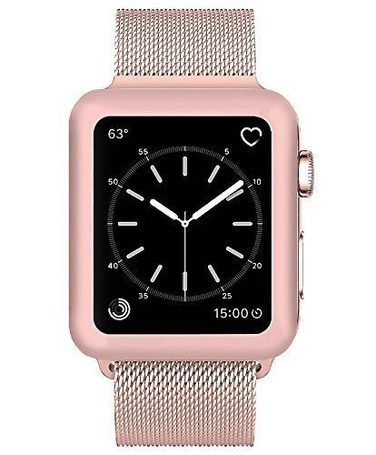 Josi Minea Apple Watch [ 38mm ] 3D Tempered Glass Screen Protector with Edge to Edge Coverage Anti-Scratch Ballistic LCD Cover Guard Premium HD Shield for Apple Watch Series 3 [ 38mm - Rose Gold ] by Josi Minea (Image #3)
