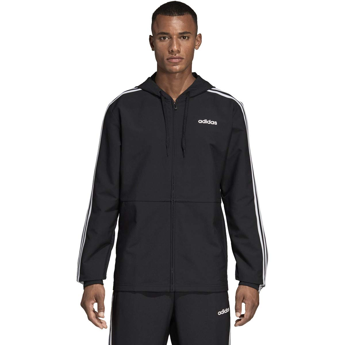 adidas Essentials Men's 3-Stripes Windbreaker, Black/White, 4XLT by adidas