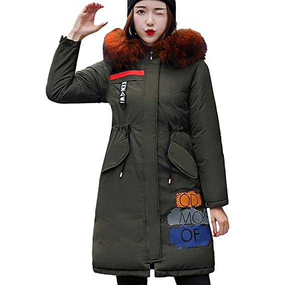 28322f9bfd0 Lazzboy Womens Coat Parka Winter Reversible Cotton-Padded Puffer Graffiti  Print Warm Faux Fur Hooded Long Outerwear  Amazon.co.uk  Clothing